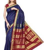 Buy Blue plain art silk saree with blouse