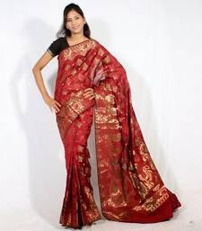 Buy Faux chanderi banarasi fancy resham zari work saree faux-saree online