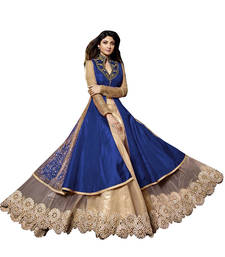 Buy Blue and Beige embroidered Georgette semi stitched salwar with dupatta salwar-kameez-below-2000 online