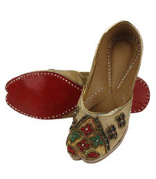 Buy gold Fabric and Leather footwear footwear online