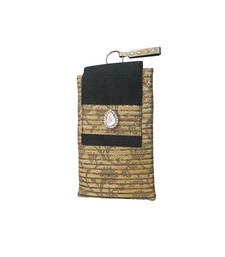 Buy Brocade Mobile Cover With Dainty Almond Brooch (Black) wallet online