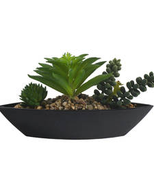 Buy Ultimate Green Artificial Plant with Boat Shape Pot pot online