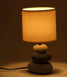 Buy White Fabric Shade Ceramic Base Table Lamp table-lamp online