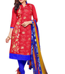 Buy Red and Blue embroidered Chanderi and Cotton unstitched salwar with dupatta cotton-salwar-kameez online