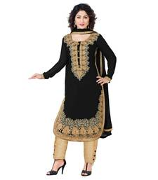 Buy Black and  Golden georgette embroidered semi stitched salwar with dupatta pakistani-salwar-kameez online