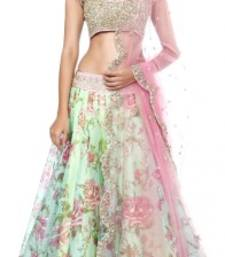 Buy Green  Gorgette embroidered unstitched lehenga-choli lehenga-choli online