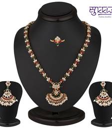 Buy Sukkhi Attractive Gold Plated AD Necklace-Earring-Ring Set necklace-set online