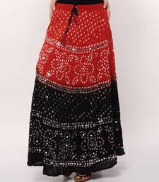 Buy Stunning Red Black Bandhej Skirt skirt online