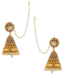 Buy Designer Ethnic Bollywood Big Pearl Kundan Jhumka Indian ADIVA Earrings jhumka online