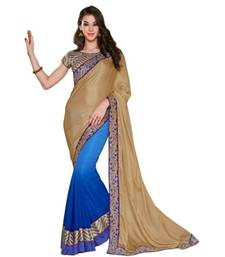 Buy Beige and Blue embroidered chiffon saree with blouse party-wear-saree online
