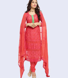 Buy Red woven Chiffon unstitched salwar with dupatta dress-material online