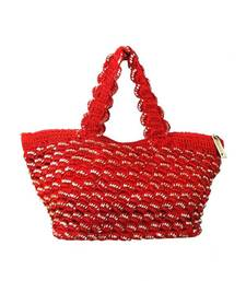 Buy Sequins crochet small handbag | Red handbag online