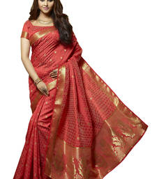 Buy Red Resham and Zari Woven art Tussar Silk Saree With Unstitched Blouse tussar-silk-saree online