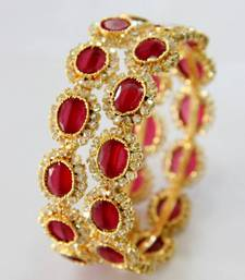 Buy BEAUTIFUL ONYX RED N POLKI STONES STUDDED BANGLES bangles-and-bracelet online