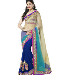 Buy Off white and  Aqua blue and  Blue embroidered net saree with blouse half-saree online