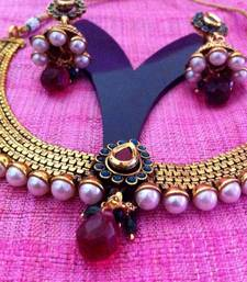 Buy Red green traditional pearly , elegant & simple necklace set s9rg Necklace online