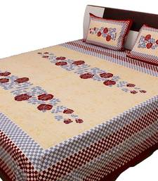 Buy Jaipuri Checkered & Floral Print Cotton Double Bed Sheet bed-sheet online