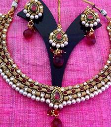Buy Pink maroon stones rope design with traditional pearly , elegant & unique design necklace set v651r by Adiva Lifestyle Necklace online