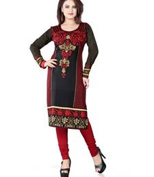 Buy Black and red american crepe printed kurti long-kurti online