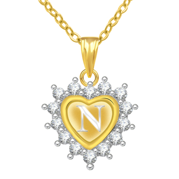 N Alphabet In Heart ... Plated AD Alphabet Letter N Valentine Heart Pendant With Chain Online