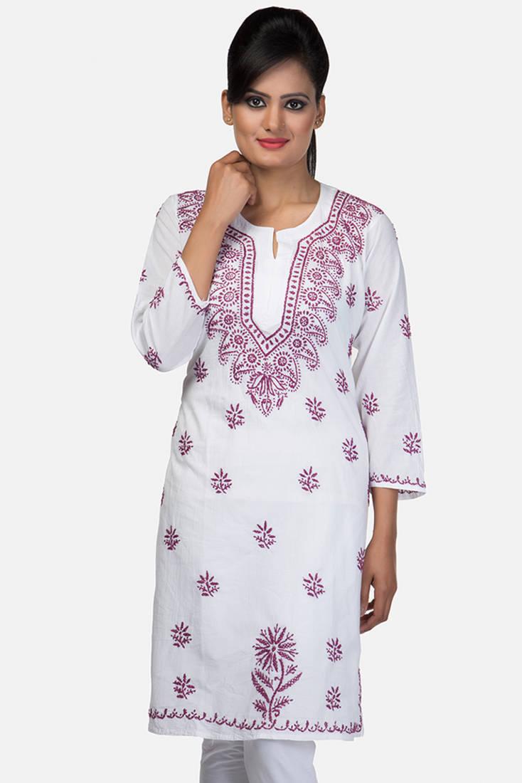 Buy Designer Hand Embroidered Medium White Cotton Lucknow Chikankari Kurti Online