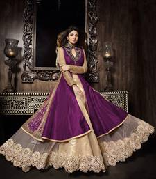 Buy purple and beige embroidered georgette semi stitched salwar suit semi-stitched-salwar-suit online