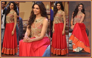 Deepika in Red Gown with Jacket in Comedy Nights with Kapil