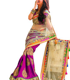 Buy Pink+Embroidery Work+Chiffon And Net+Fashion+Saree+With Blouse designer-embroidered-saree online