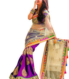 Buy Purple+Embroidery Work+Chiffon And Net+Fashion+Saree+With Blouse designer-embroidered-saree online