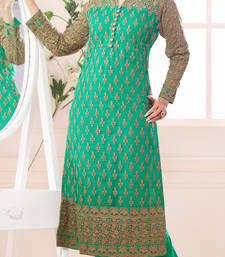 Buy Green embroidered net unstitched salwar with dupatta pakistani-salwar-kameez online