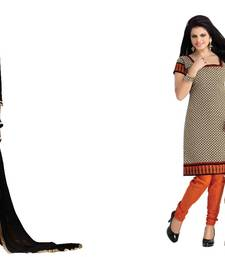 Buy Black and beige embroidered and printed cotton unstitched salwar with dupatta salwar-combo online