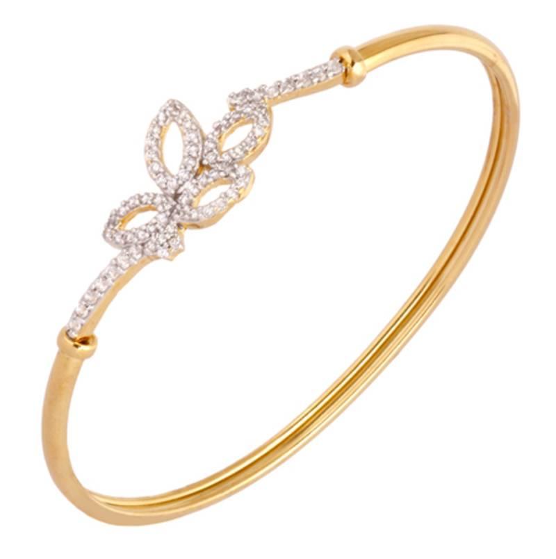 Buy Flower Leaf American Diamond Gold Openable Plated Kada ...