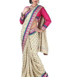 Buy Cream Viscose Indian Bollywood Saree viscose-saree online