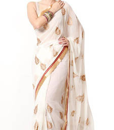 Buy White printed chiffon saree with blouse chiffon-saree online