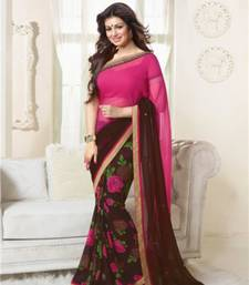 Buy Pink and brown printed georgette saree with blouse with blouse georgette-saree online