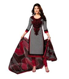 Buy Red and Black printed Chanderi unstitched salwar with dupatta dress-material online
