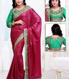 Buy Pink embroidered satin saree with blouses saree with blouse satin-saree online