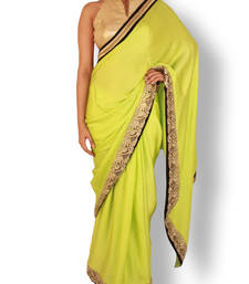 Buy Pear green satin saree with blouse satin-saree online