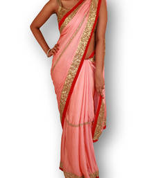 Buy pink  satin saree with blouse satin-saree online