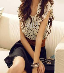 Buy Large Polka dot Mini dress Flouncing Collar Bowknot Belt as Gift Chiffon Dress dress online