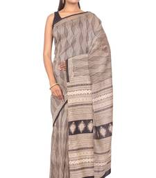 Buy Gray plain cotton saree with blouse cotton-saree online
