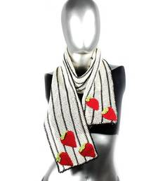 Buy Strawberry Crochet Stole | White stole-and-dupatta online