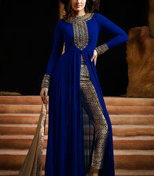 Buy Blue georgette embroidered semistitched salwar with dupatta party-wear-salwar-kameez online