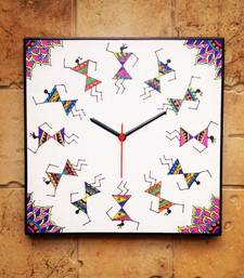 Buy Colourful Handmade Hand Painted Warli Wall Clock in Madhubani style wall-clock online