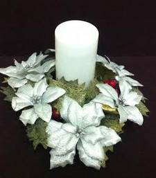 Buy Christmas decoration silver Ponsettias candle holder christmas-gift online