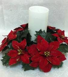 Buy Christmas red Ponsettias candle holder christmas-gift online