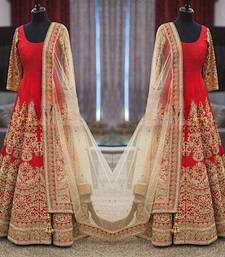 Buy Red silk embroidered semi stitiched salwar with dupatta wedding-salwar-kameez online