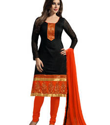 Buy Black embroidered Chanderi and Cotton unstitched salwar with dupatta dress-material online