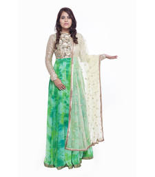 Buy Green Chiffon embroidered stitched salwar with dupatta readymade-suit online
