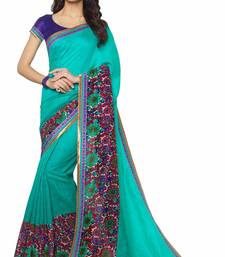 Buy Blue printed linen saree with blouse linen-saree online